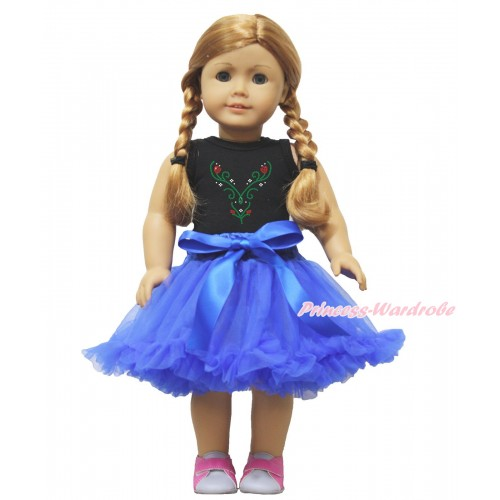 Frozen Black Tank Top Sparkle Rhinestone Princess Anna Print & Royal Blue Pettiskirt American Girl Doll Outfit DO012
