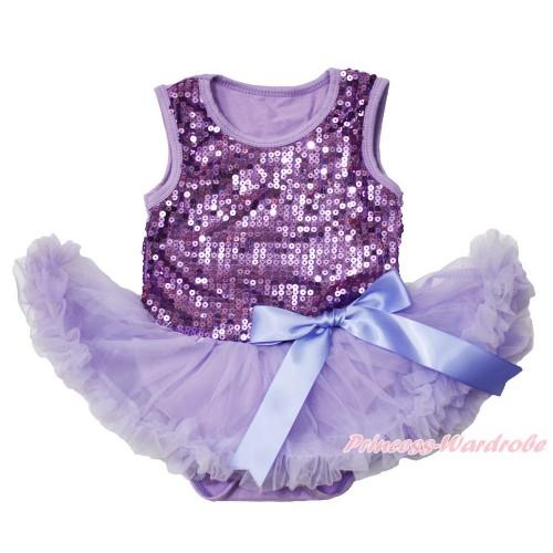 Valentine's Day Lavender Sparkle Sequins Baby Bodysuit Pettiskirt & Bow JS3743
