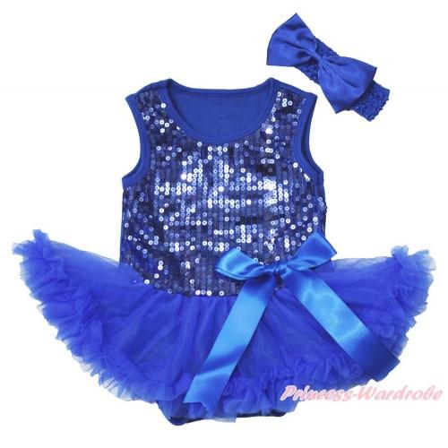 Valentine's Day Royal Blue Sparkle Sequins Baby Bodysuit Pettiskirt & Bow & Royal Blue Headband Satin Bow JS3744