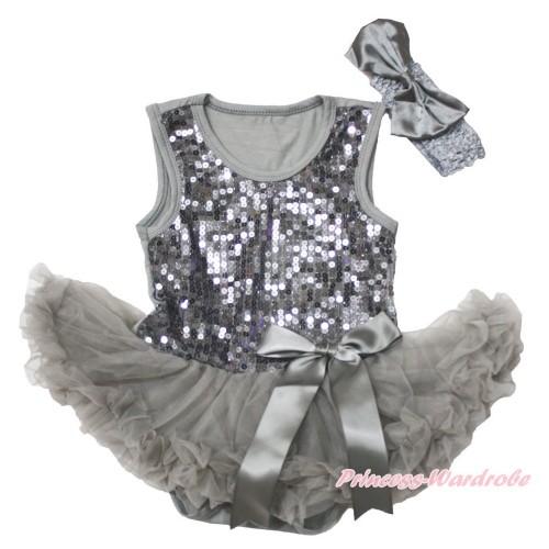 Valentine's Day Grey Sparkle Sequins Baby Bodysuit Pettiskirt & Bow & Grey Headband Satin Bow JS3745