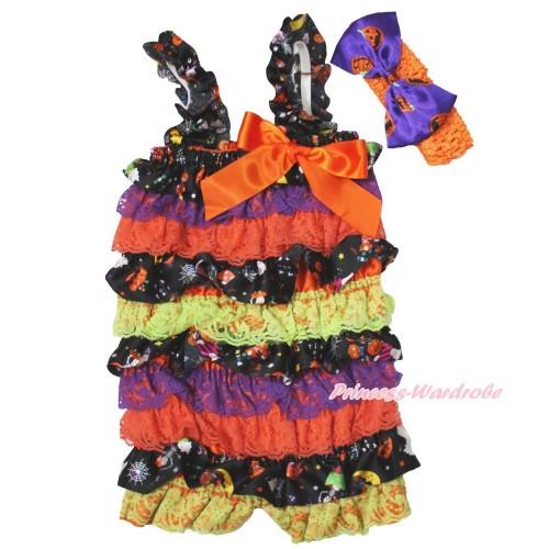 Halloween Pumpkin Purple Orange Petti Romper & Orange Bow & Straps & Orange Headband Pumpkin Satin Bow 2pc Set RH152