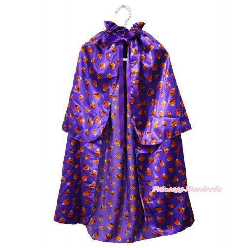Halloween Pumpkin Dark Purple Satin Shawl Coat Costume Cape SH71