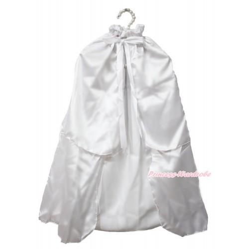 White Satin Shawl Coat Costume Cape SH73