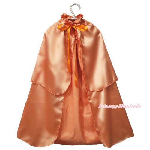 Halloween Orange Satin Shawl Coat Costume Cape SH75