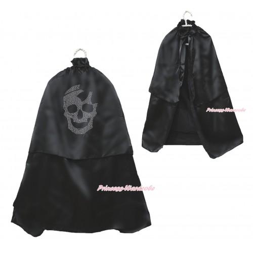 Halloween Sparkle Rhinestone Skeletone Black Satin Cape Coat Costume SH80