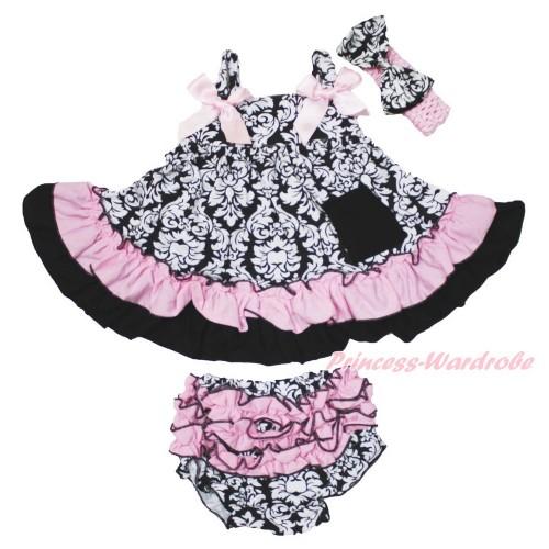 Damask Swing Top & Light Pink Bow & Panties Bloomers & Light Pink Headband Damask Satin Bow SP20