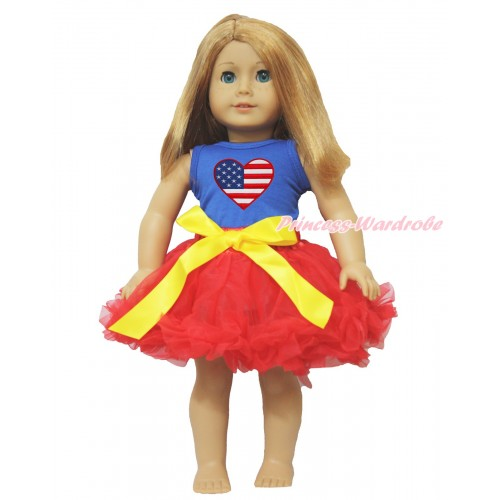 American's Birthday Royal Blue Tank Top Patriotic American Heart Print & Yellow Bow Hot Red Pettiskirt American Girl Doll Outfit DO007