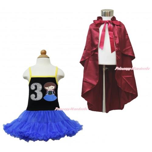 Frozen Anna Black Halter Royal Blue ONE-PIECE Dress & 3rd Sparkel White Birthday Number  Princess Anna & Raspberry Wine Red Satin Cape LP103