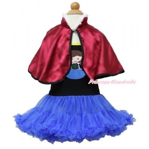 Frozen Anna Black Halter Royal Blue ONE-PIECE Dress & Princess Anna & Raspberry Wine Red Soft Fur Satin Cape LP108