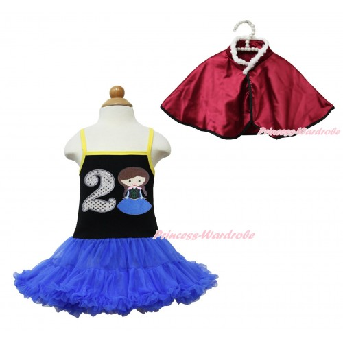 Frozen Anna Black Halter Royal Blue ONE-PIECE Dress & 2nd Sparkle White Birthday Number Princess Anna & Raspberry Wine Red Soft Fur Satin Cape LP110