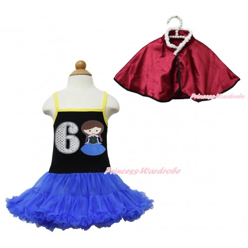 Frozen Anna Black Halter Royal Blue ONE-PIECE Dress & 6th Sparkle White Birthday Number Princess Anna & Raspberry Wine Red Soft Fur Satin Cape LP114