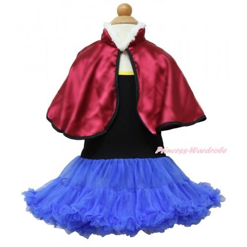 Frozen Anna Black Halter Royal Blue ONE-PIECE Dress & Raspberry Wine Red Soft Fur Satin Cape LP98