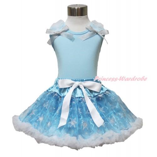 Frozen Elsa Light Blue Tank Tops White Ruffles Sparkle Silver Grey Bow & Sparkle Snowflakes Light Blue Organza Pettiskirt MH227