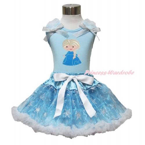 Frozen Elsa Light Blue Tank Top White Ruffles Sparkle Silver Grey Bow Princess Elsa & Sparkle Snowflakes Light Blue Organza Pettiskirt MH229