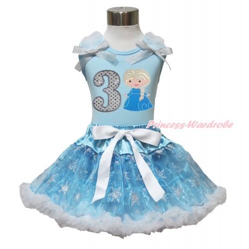 Frozen Elsa Light Blue Tank Top White Ruffles Sparkle Silver Grey Bow 3rd Sparkle White Birthday Number Princess Elsa & Sparkle Snowflakes Light Blue Organza Pettiskirt MH232