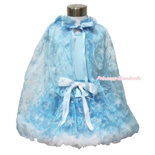 Frozen Elsa Light Blue Tank Tops White Ruffles Sparkle Silver Grey Bow & Sparkle Snowflakes Light Blue Organza Pettiskirt & Sparkle Snowflakes Light Blue Organza Cape MH236