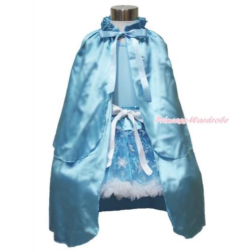 Frozen Elsa Light Blue Tank Tops White Ruffles Sparkle Silver Grey Bow & Sparkle Snowflakes Light Blue Organza Pettiskirt & Light Blue Satin Cape MH237