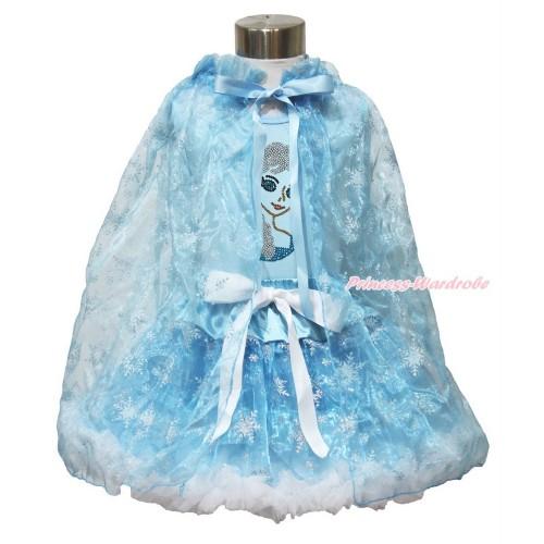 Frozen Elsa Light Blue Tank Tops White Ruffles Sparkle Silver Grey Bow Sparkle Bling Rhinestone Princess Elsa & Sparkle Snowflakes Light Blue Organza Pettiskirt & Snowflakes Light Blue Organza Cape MH238