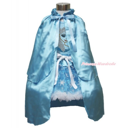 Frozen Elsa Light Blue Tank Tops White Ruffles Sparkle Silver Grey Bow Sparkle Bling Rhinestone Princess Elsa & Sparkle Snowflakes Light Blue Organza Pettiskirt & Light Blue Satin Cape MH246