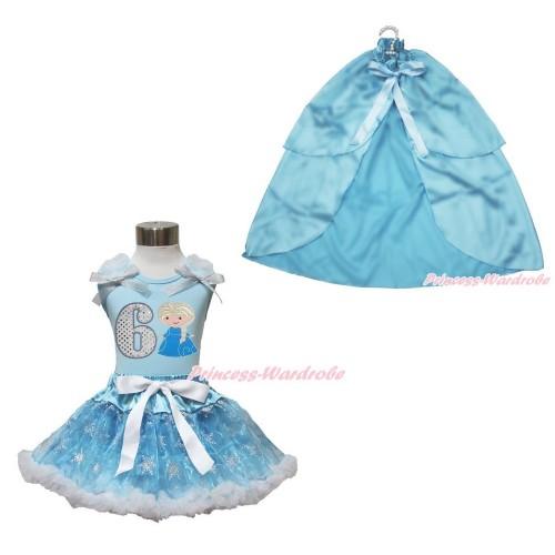 Frozen Elsa Light Blue Tank Tops White Ruffles Sparkle Silver Grey Bow 6th Sparkle White Birthday Number Princess Elsa & Sparkle Snowflakes Light Blue Organza Pettiskirt & Light Blue Satin Cape MH253