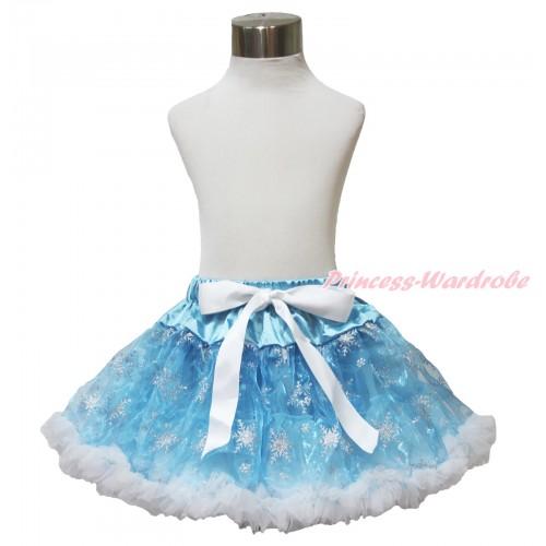 Frozen Princess Elsa Sparkle Bling Snowflakes Light Blue Organza Full Pettiskirt P188