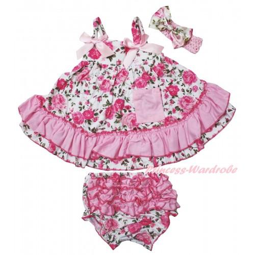 Light Pink Rose Fusion Swing Top & Light Pink Bow & Rose Fusion Panties Bloomers & Light Pink Headband Rose Fusion Satin Bow SP13