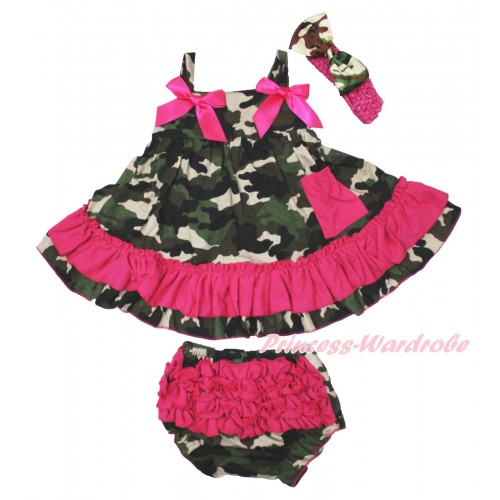 Hot Pink Camouflage Swing Top & Hot Pink Bow & Camouflage Panties Bloomers & Hot Pink Headband Camouflage Satin Bow SP14