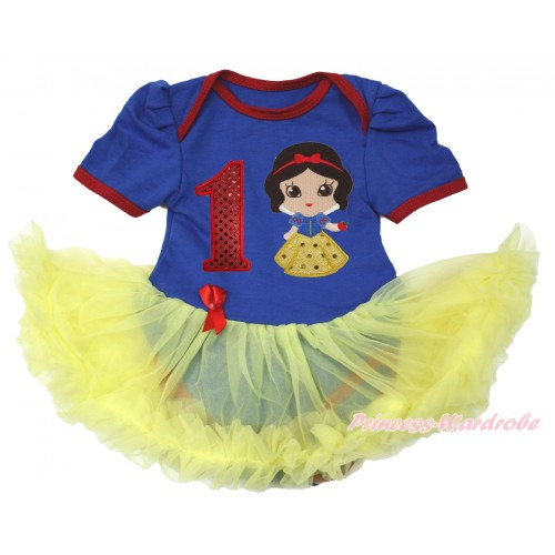 Royal Blue Red Ruffles Baby Bodysuit Jumpsuit Yellow Pettiskirt with 1st Sparkle Red Birthday Number & Snow White Print JS3672