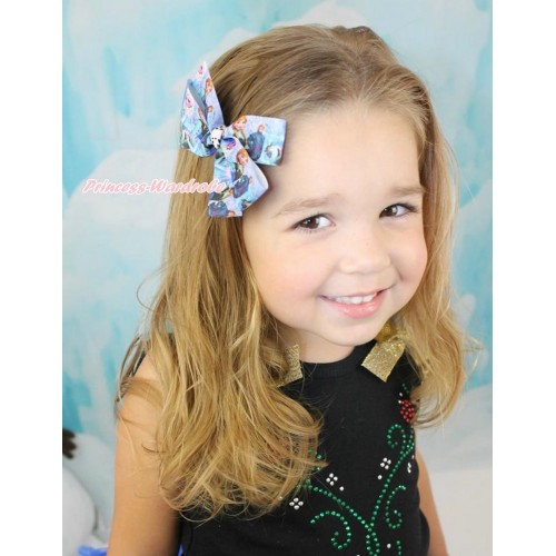 Frozen Princess Anna & Elsa & Kristoff Ribbon Bow Hair Clip H867