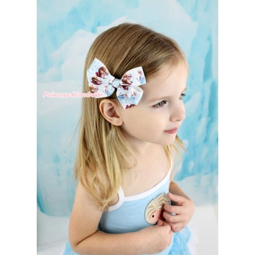 Frozen Princess Anna & Elsa Ribbon Bow Hair Clip H868