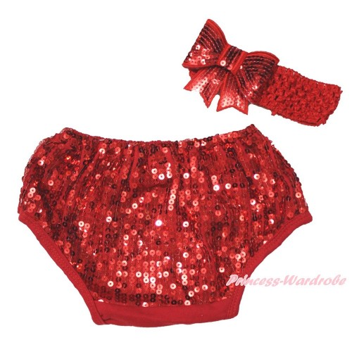 Hot Red Sparkle Sequins Panties Bloomers & Hot Red Headband Sparkle Sequins Bow BA25