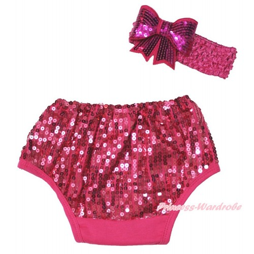 Hot Pink Sparkle Sequins Panties Bloomers & Hot Pink Headband Sparkle Sequins Bow BA26