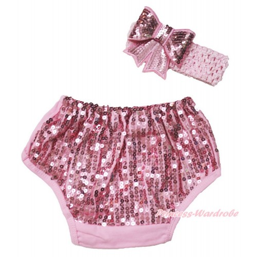 Light Pink Sparkle Sequins Panties Bloomers & Light Pink Headband Sparkle Sequins Bow BA27