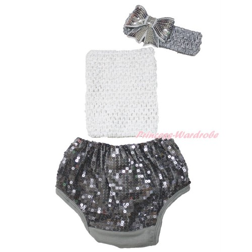 White Crochet Tube Top & Grey Sparkle Sequins Panties Bloomers & Grey Headband Sparkle Sequins Bow 3PC Set CT679