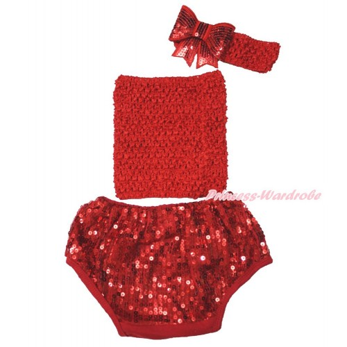 Hot Red Crochet Tube Top & Sparkle Sequins Panties Bloomers & Hot Red Headband Sparkle Sequins Bow 3PC Set CT680