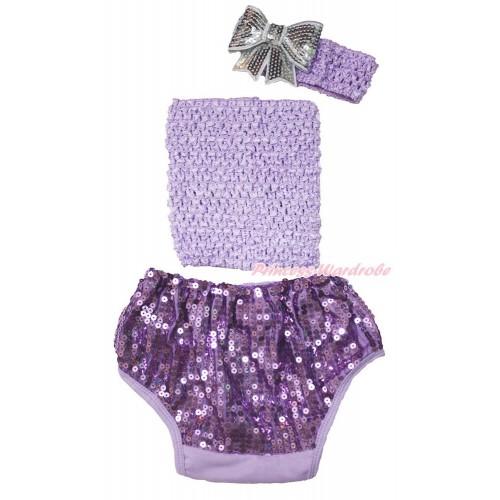 Lavender Crochet Tube Top & Sparkle Sequins Panties Bloomers & Lavender  Headband Grey Sparkle Sequins Bow 3PC Set CT683