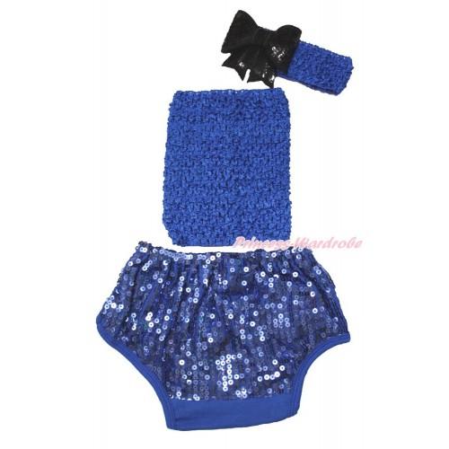 Royal Blue Crochet Tube Top & Sparkle Sequins Panties Bloomers & Royal Blue Headband Black Sparkle Sequins Bow 3PC Set CT684