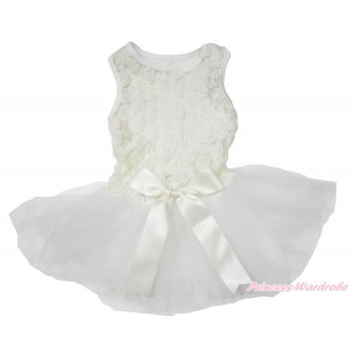 Valentine's Day Cream White Romantic Rose Sleeveless Gauze Skirt & Bow Pet Dress DC180