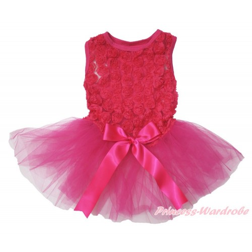 Valentine's Day Hot Pink Romantic Rose Sleeveless Gauze Skirt & Bow Pet Dress DC181