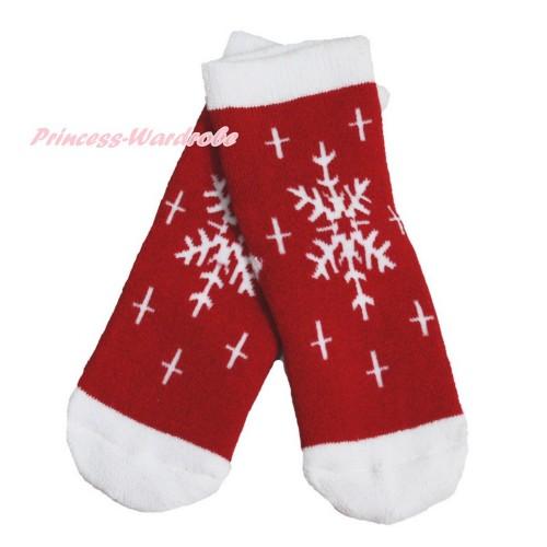 Xmas Red White Snowflakes Socks H318