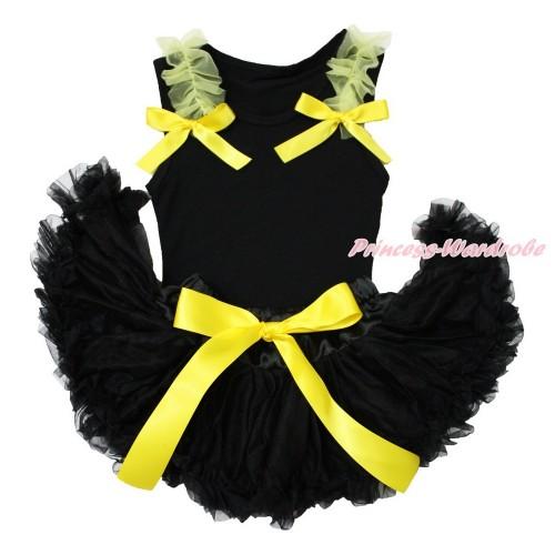 Black Baby Pettitop & Yellow Ruffles & Bows & Black Baby Pettiskirt NG1548
