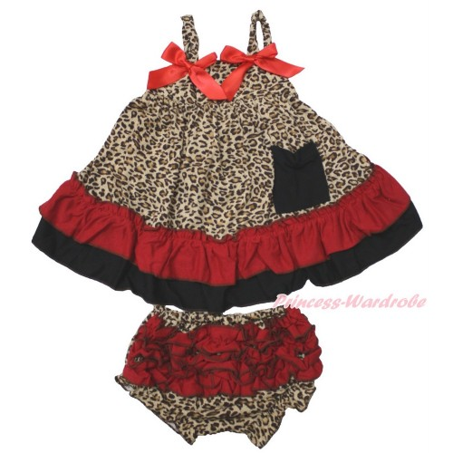 Leopard Swing Top & Hot Red Bow & Panties Bloomers SP16