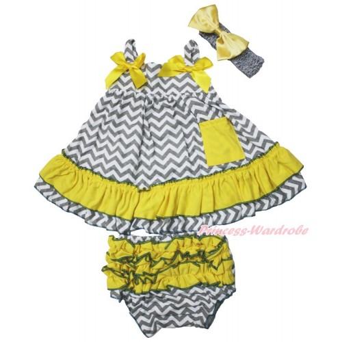 Grey White Chevron Swing Top & Yellow Bow & Panties Bloomers & Grey Headband Yellow Satin Bow SP17
