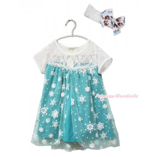 Frozen Elsa Lace White Blue Snowflakes Short Sleeve Party Dress & White Headband Princess Anna & Elsa Ribbon Bow C005-1