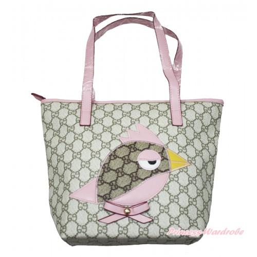 Light Pink Leather Little Bird Sparrow Cute Handbag Pink Bow Petti Bag Purse CB171