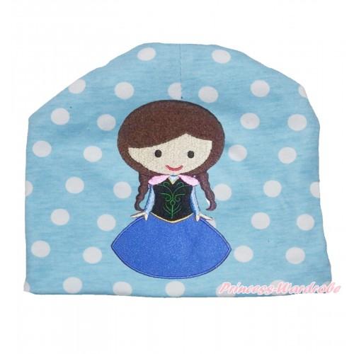 Light Blue White Polka Dots Cotton Cap with Frozen Princess Anna Print TH522