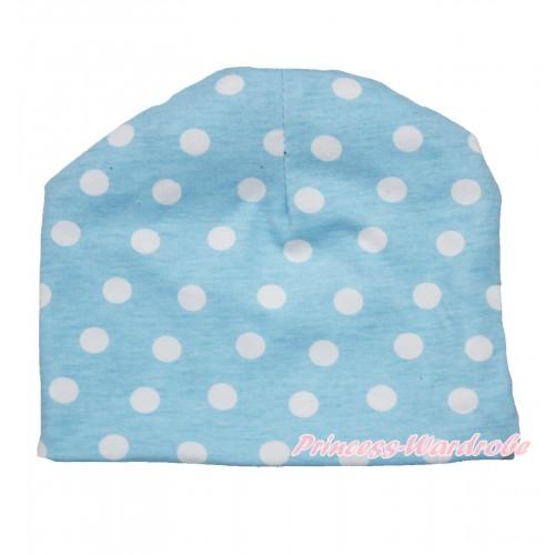 Light Blue White Polka Dots Cotton Cap TH520
