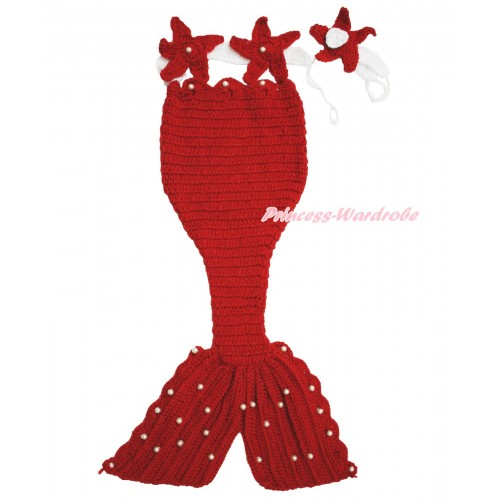 Hot Red Starfish Mermaid Photo Prop Crochet Newborn Baby Custome C294