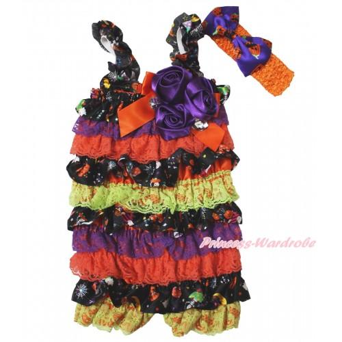 Halloween Pumpkin Purple Orange Petti Romper & Orange Bow & Straps & Bunch Purple Satin Rosettes& Crystal With Orange Headband Pumpkin Satin Bow 2pc Set RH157