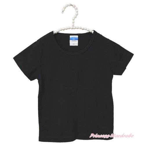 Black Short Sleeves Top Plain Style Child Kids Unisex Family Tee Shirt TS28